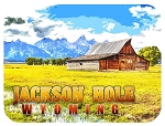 Jackson Hole Wyoming with Barn Fridge Magnet