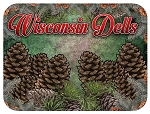 Wisconsin Dells with Pine Cone Fridge Magnet