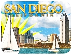 San Diego with Sail Boat Fridge Magnet