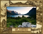 Glacier National Park Montage Laser Engraved Wood Picture Frame (5 x 7)