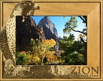 Zion National Park with Hawk Laser Engraved Wood Picture Frame