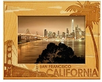 San Francisco with Palm Tree Laser Engraved Wood Picture Frame