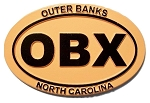 Outer Banks North Carolina OBX Orange Oval Fridge Magnet