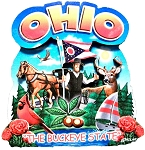 Ohio the Buckeye State Artwood Montage Fridge Magnet