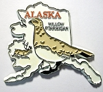 Alaska State Outline with Willow Ptarmigan Fridge Magnet Design 1