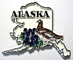 Alaska State Outline with Willow Ptarmigan and Flowers Fridge Magnet Design 1