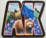 Alaska Artwood Initial Fridge Magnet Design 19