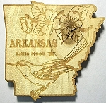 Arkansas Little Rock Laser Etched Wood Fridge Magnet Design 3