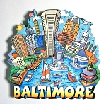 Baltimore Skyline Artwood Fridge Magnet Design 27