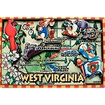 West Virginia Cartoon Map Fridge Magnet