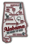 Alabama the Heart of Dixie Premium State Map Fridge Magnet