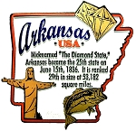 Arkansas The Diamond State Outline Montage Fridge Magnet