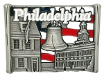 Philadelphia with Bell and Flag Metal Fridge Magnet