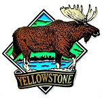 Yellowstone National Park with Moose Fridge Magnet