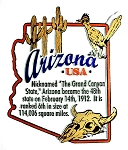 Arizona The Grand Canyon State Outline Montage Fridge Magnet