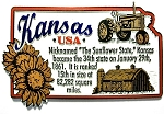 Kansas The Sunflower State Outline Montage Fridge Magnet Design 4