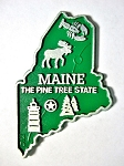 Maine the Pine Tree State Map Fridge Magnet Design 2