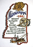 Mississippi The Magnolia State Outline Montage Fridge Magnet Design 4