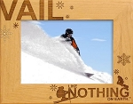 Vail Colorado with Skier Laser Engraved Wood Picture Frame
