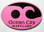 Ocean City Maryland Pink Wave Souvenir Oval Fridge Magnet Design 10