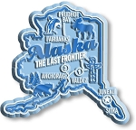 Alaska the Last Frontier Premium State Map Fridge Magnet