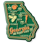 Georgia the Peach State Premium Map Fridge Magnet