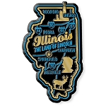 Illinois the Land of Lincoln Premium State Map Fridge Magnet