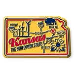 Kansas the Sunflower State Premium Map Fridge Magnet