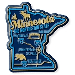 Minnesota the North Star State Premium Map Fridge Magnet