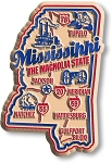 Mississippi the Magnolia State Premium Map Fridge Magnet