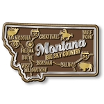 Montana Big Sky Country Premium State Map Fridge Magnet