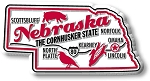 Nebraska the Cornhusker State Premium Map Fridge Magnet