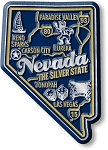 Nevada the Silver State Premium Map Fridge Magnet