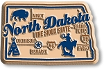 North Dakota the Sioux State Deluxe Map Fridge Magnet