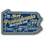 Pennsylvania the Keystone State Premium Map Fridge Magnet