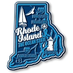 Rhode Island the Ocean State Premium Map Fridge Magnet