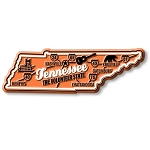 Tennessee the Volunteer State Premium Map Fridge Magnet