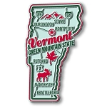 Vermont the Green Mountain State Premium Map Fridge Magnet
