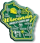 Wisconsin Americas Dairyland State Premium Map Fridge Magnet