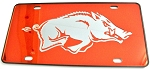Arkansas Razorbacks Red Mirror License Plate-NCAA