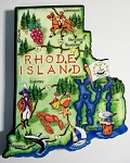 Rhode Island State Outline Artwood Jumbo Magnet Design 12
