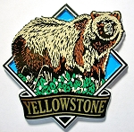Yellowstone National Park with Grizzly Bear Fridge Magnet Design 1