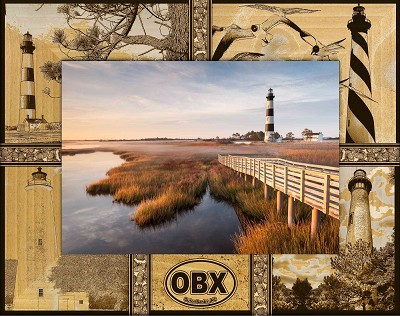 OBX Outer Banks North Carolina Montage Laser Engraved Wood Picture Frame (5 x 7)