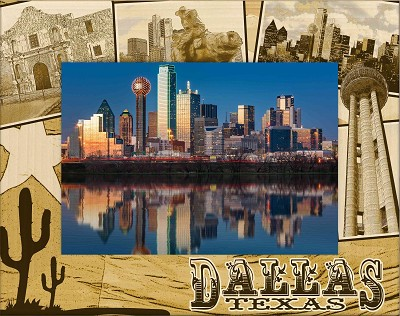 Dallas Texas Laser Engraved Wood Picture Frame (5 x 7)