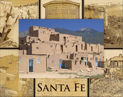 Santa Fe New Mexico Montage Laser Engraved Wood Picture Frame (5 x 7)