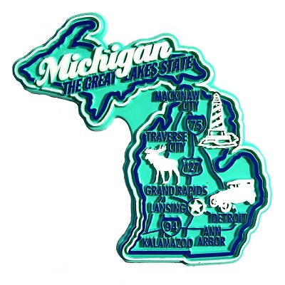Michigan Premium State Map Magnet