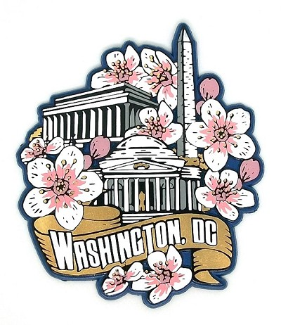 Washington D.C. Monuments with Cherry Blossoms Fridge Magnet