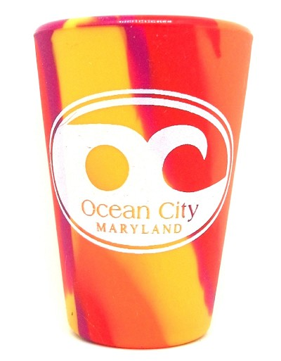 Ocean City Maryland Orange Swirl Silipint Silicone Shot Glass