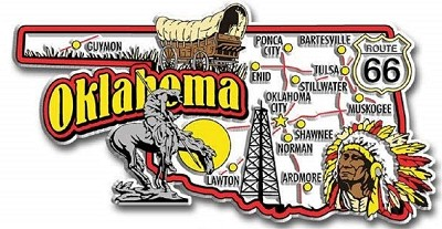 Oklahoma Jumbo Map Fridge Magnet