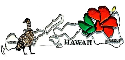 Hawaii State Outline with Nene and Flowers Fridge Magnet